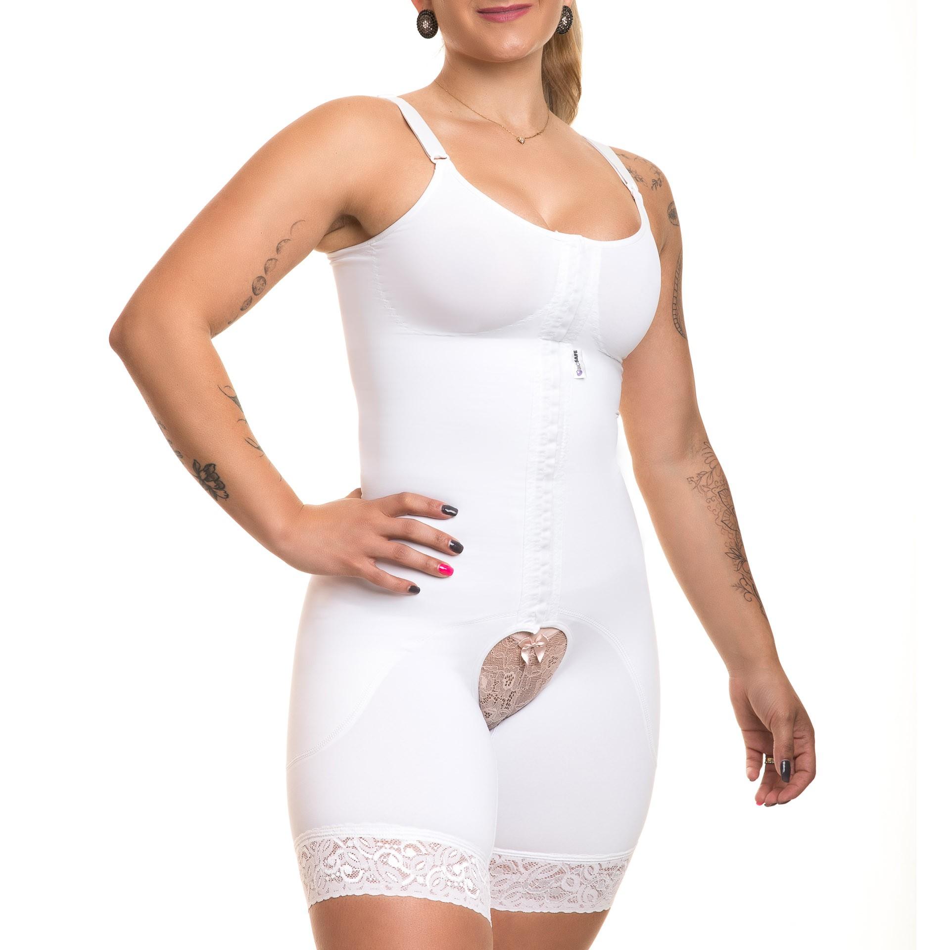 Modelador compressivo macaquinho Reabilit 8019 branco ideal p lipoaspiração abdominoplastia vibrolipoaspiração e vestido revélion melhor final de ano