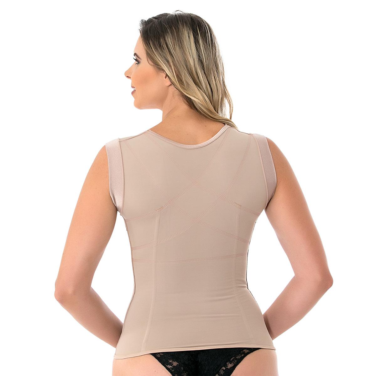 Corretor postural feminino Mabella 1260 c/ reforço costas, alça larga, 8 barbatanas sem busto. Perca medidas com a cinta  - Cinta se Nova