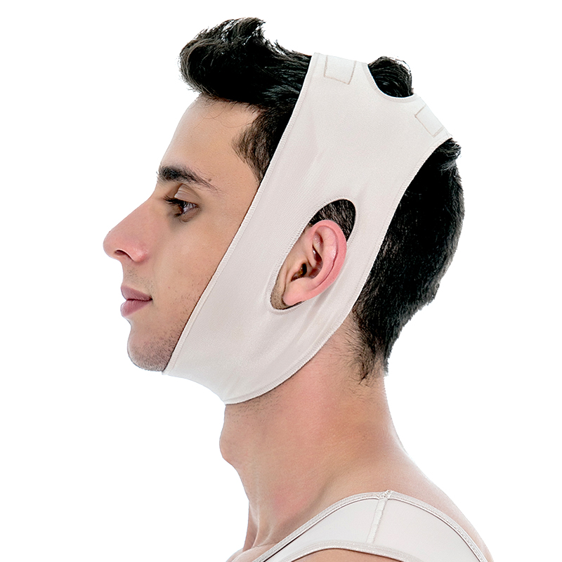 Faixa cirúrgica compressiva Mabella 1182 queixeira regulagem em velcro, ideal para cirurgia lipo no pescoço lifting de p