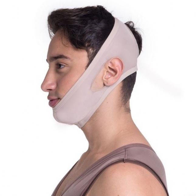 Faixa cirúrgica compressiva mentoneira Biobela 1637 nude mentoplastia mini lifting lipo na papada queixo harmonia facial  - Cinta se Nova