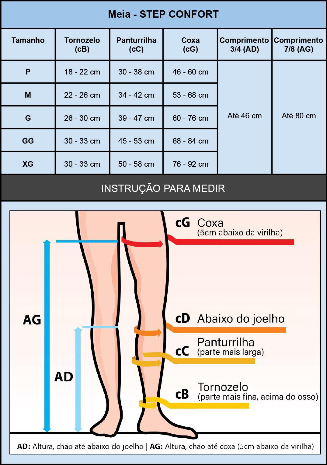 Meia compressiva 3/4 Stepconfort (Estéril) antitrombo antiembolia, para tratamentos médicos e cirurgias  - Cinta se Nova