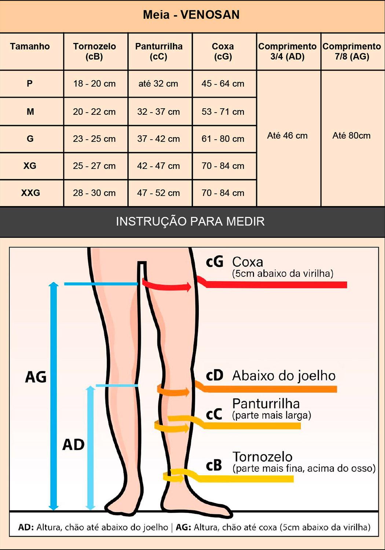 Meia compressiva Venosan 3/4 AES AD Antitrombo Antiembolia  - Cinta se Nova