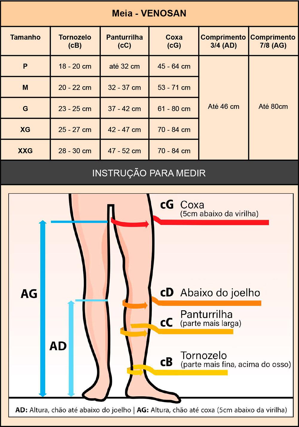 Meia compressiva Venosan 3/4 AES AD Estéril Antitrombo Antiembolia  - Cinta se Nova