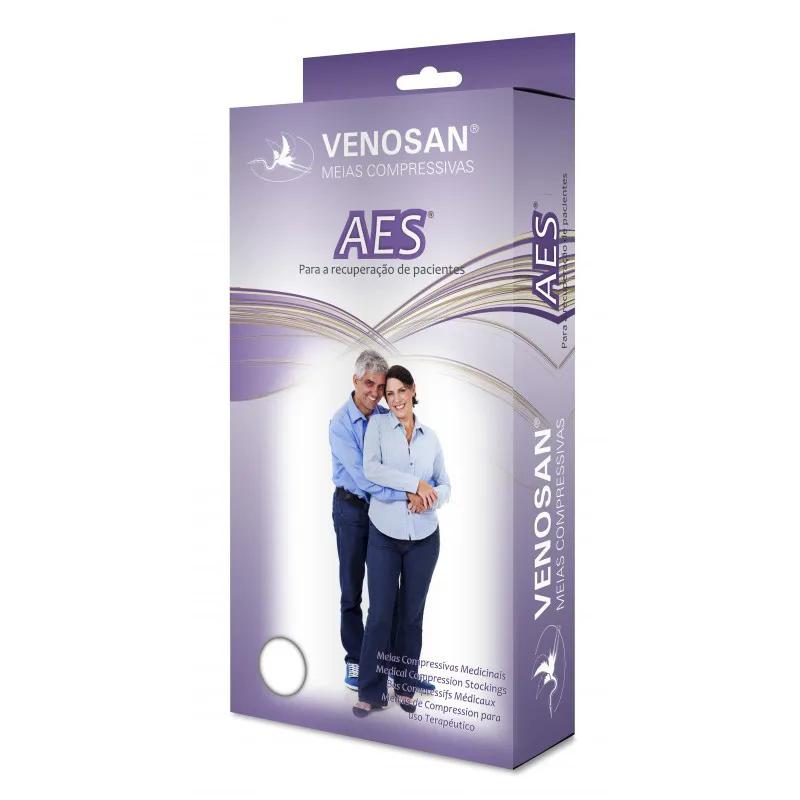 Meia compressiva Venossan 3/4 AES AD, Antitrombo Antiembolia Antiembolismo Embolia Pulmonar, melhora circulação do sangue 18mmhg Prevenção TVP (Trombose Venosa Profunda) com ponteira de inspeção