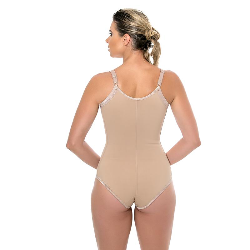Modelador body Mabella 1012 cirúrgico com busto pré moldado, alça fina, sem pernas, fundo forrado com tecido de a  - Cinta se Nova