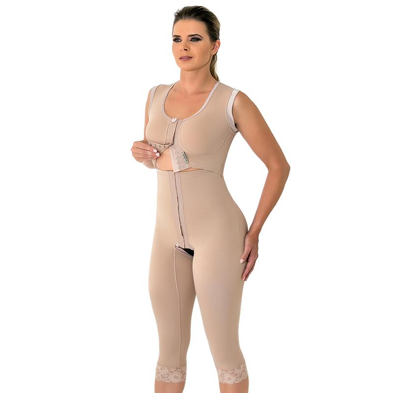 Modelador cirúrgico compressivo longo bipartido alça larga Mabella 1073 melhor para lipo barriga flancos pernas prótese  - Cinta se Nova