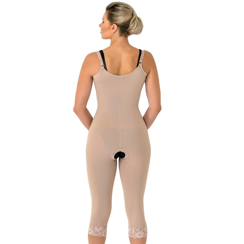 Modelador cirúrgico compressivo longo Mabella 1051 sem busto com perna alça fina, o melhor para cirurgia abdômen, pernas  - Cinta se Nova