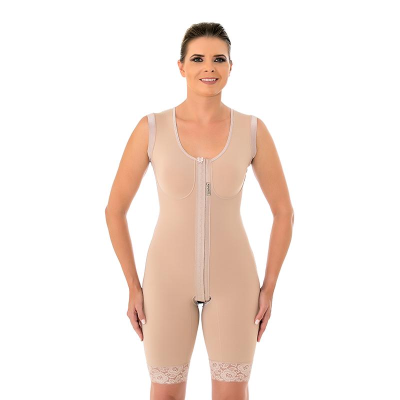 Modelador cirúrgico compressivo macaquinho Mabella 1042 com alça larga ideal para prótese de mama abdômen flancos costas  - Cinta se Nova