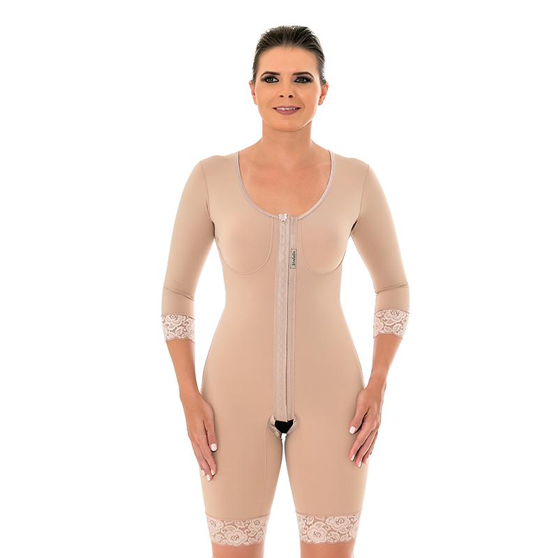 Modelador cirúrgico compressivo macaquinho Mabella 1044 c manga ideal p braquioplastia abdominoplastia implante prótese  - Cinta se Nova