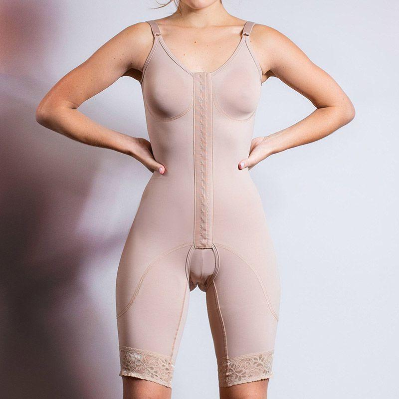 Cinta modeladora macaquinho Reabilit 8019 pós cirúrgico e estético, abertura frontal com colchetes ideal para abdominoplastia