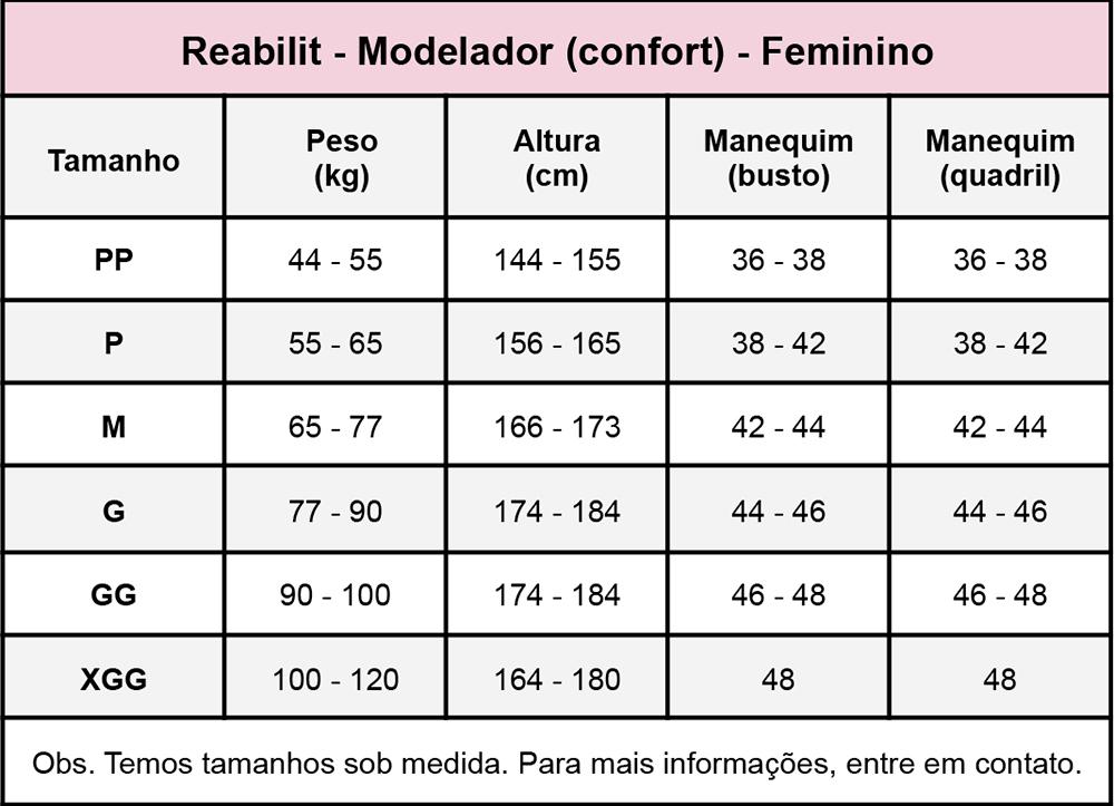 Modelador Reabilit 8027 masculino compressivo cirúrgico body c/ mangas indicado p/ lipo de braço ginecomastia abdominopl  - Cinta se Nova