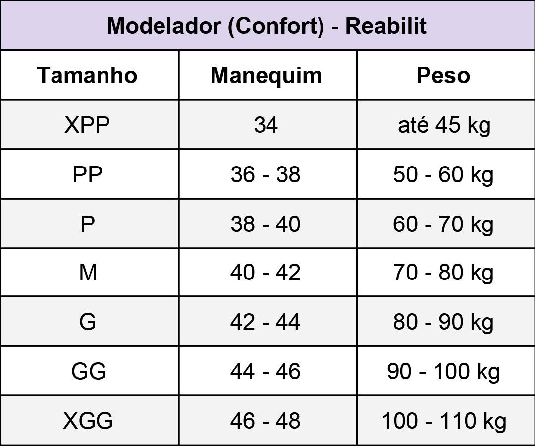Modelador Reabilit 8038 longo com mangas cirúrgico compressivo indicado para diversas cirurgias plásticas