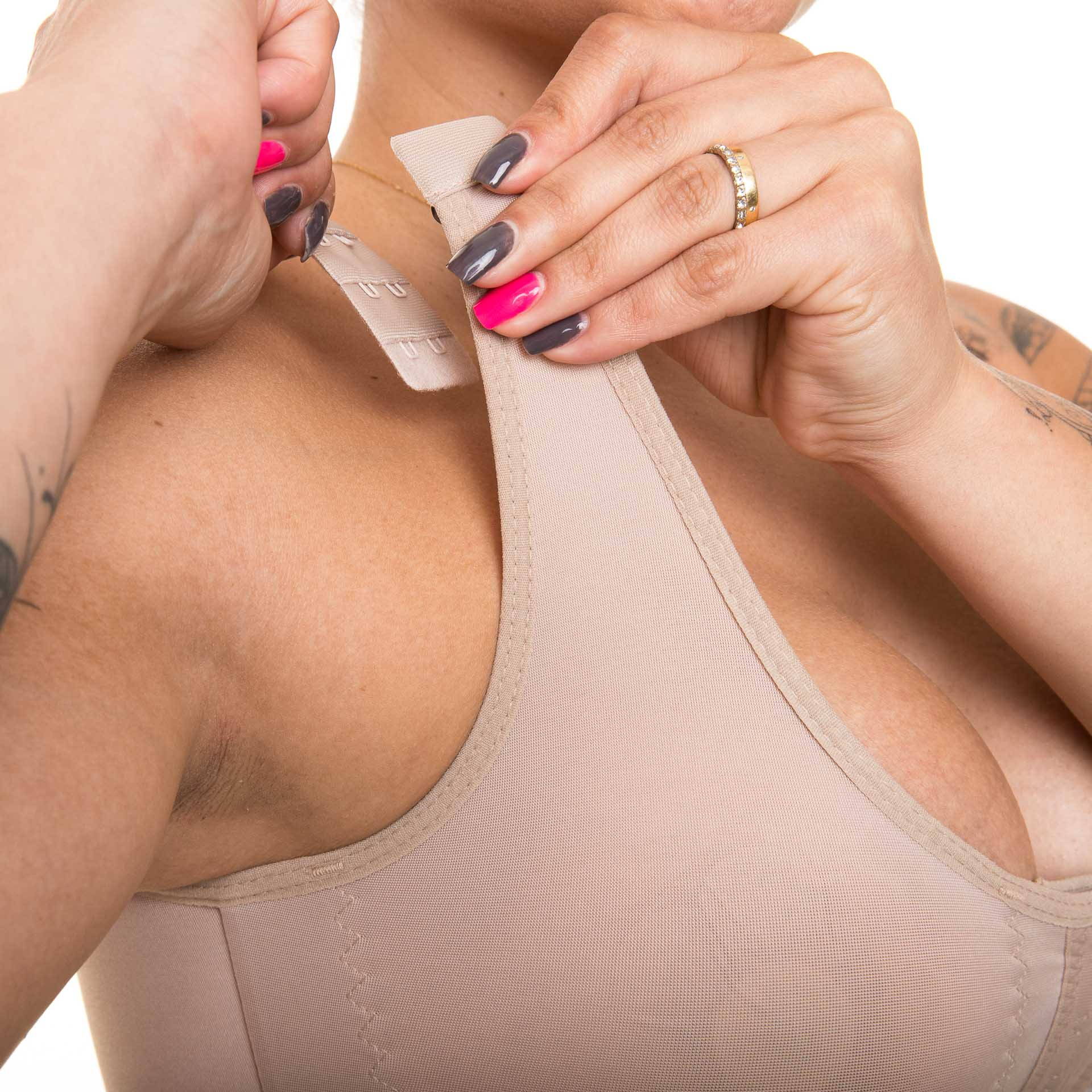 Sutiã Anatômico Reabilit 4017 abertura frontal, alça c colchetes, tecido cetinete pós cirúrgico p mastopexia mamoplastia