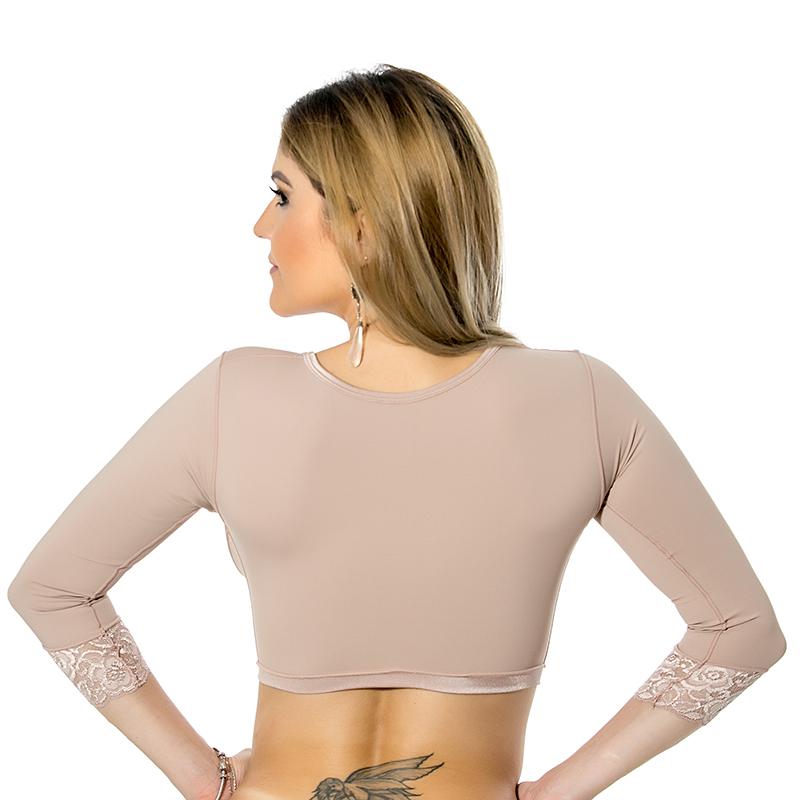 Sutiã cirúrgico compressivo com mangas Mabella 1122 com abertura frontal ideal para renúvio no braço prótese mama lipo  - Cinta se Nova