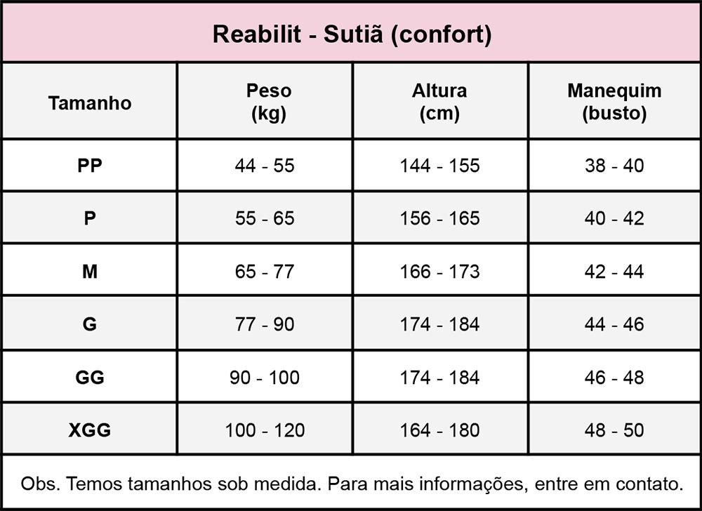 Sutiã com mangas Reabilit 8001 cirúrgico compressivo, ideal para cirurgia de braquioplastia, prótese de mama, mastopexia  - Cinta se Nova