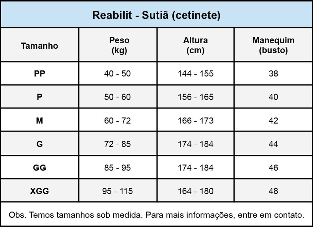 Sutiã compressivo cirúrgico Reabilit 4015 tecido cetinete, recomendado por cirurgião para Prótese de Mama Mastopexia