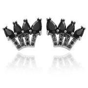 Brinco Gotas Cristal Negro e Zircônias Negras Banho Ródio Negro