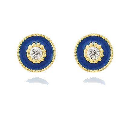 Brinco Circular Azul Marinho Cravejado com Zircônia Banho Ouro 18K