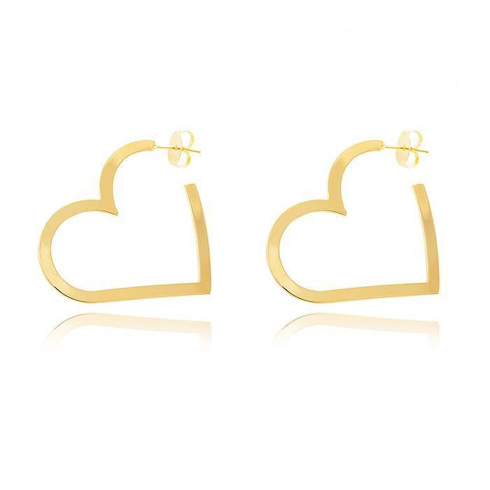 Argola Grande Coração Banho Ouro 18K