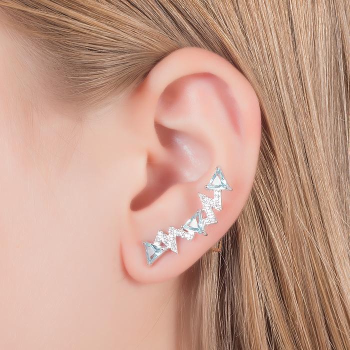 Brinco Ear Cuff Aquamarine Cravejado com Zircônias Banho Ródio