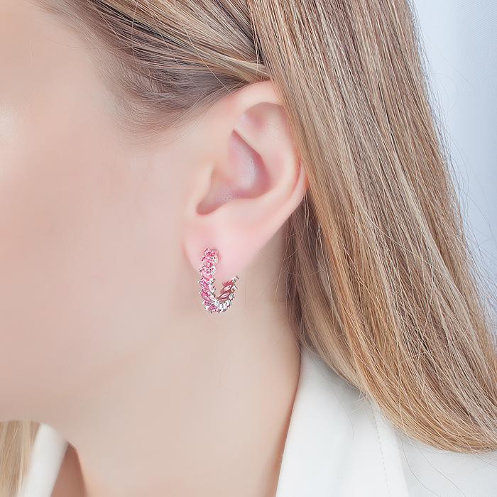 Brinco Meia Argola com Cristal Pink Navete Banho Ródio