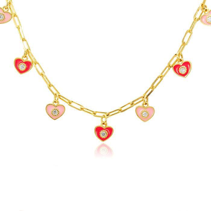 Colar com Pingentes Coração Vermelho e Rosa com Zircônia Banho Ouro 18K
