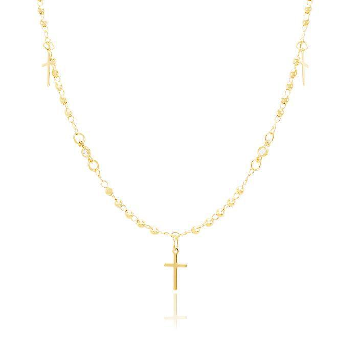 Colar Choker com Pingentes de Crucifixo e Pontos de Luz Zircônia Banho Ouro 18K