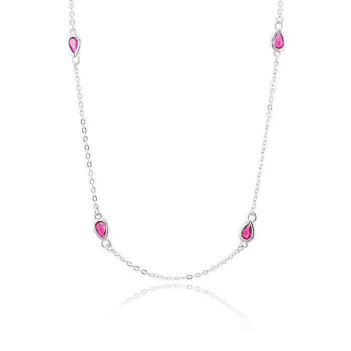 Colar Longo Gotas Cristal Pink Banho Ródio