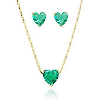 Colar e Brinco Coração Turmalina Verde Banho Ouro 18K