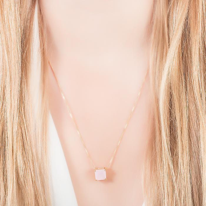 Colar e Brinco Quadrado Cristal Rosa Leitoso Banho Ouro 18K