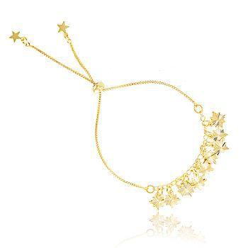 Pulseira Estrelas Rosa dos Ventos com Fecho Gravatinha Banho Ouro 18K