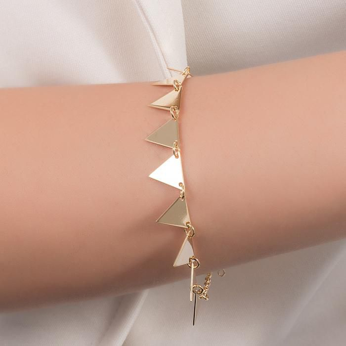 Pulseira Triângulos Banho Ouro 18K