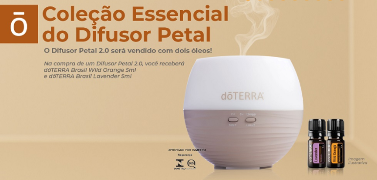Difusor Petal 2.0 + lavanda (5ml) + wild orange (5ml)