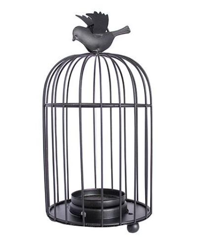 Porta Vela Gaiola Preta com Pássaro