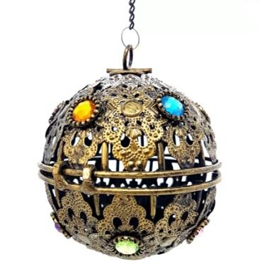 Porta Vela Suspenso Bola de Metal Pequeno