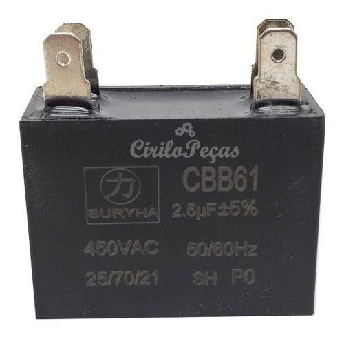 Capacitor Ar Condicionado CBB61 2,5uf 450vac