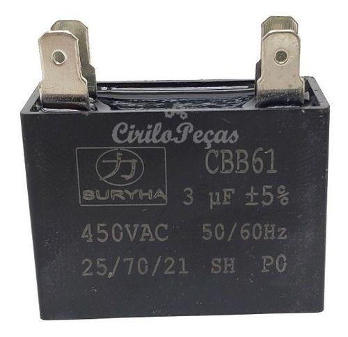 Capacitor Ar Condicionado CBB61 3uf 450vac