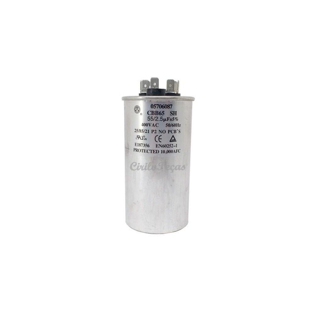 Capacitor 55+2.5uf 400Vac Springer