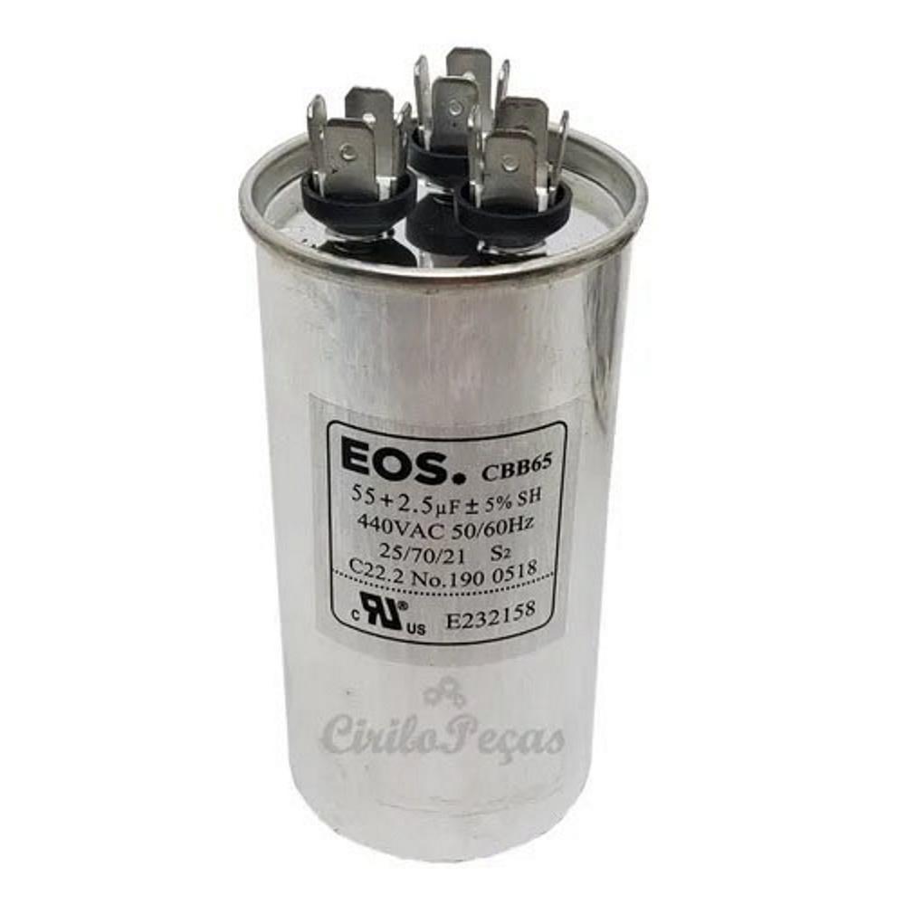 Capacitor 55+2.5uf 440Vac - EOS Carrier Springer Midea 24.000 Btus