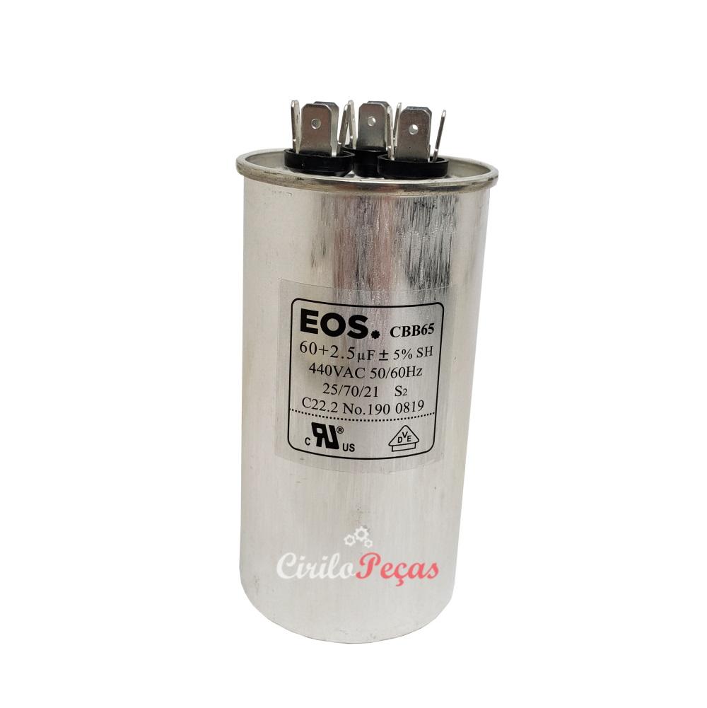Capacitor 60+2.5uf  440vac - EOS - Carrier Springer Midea 30.000 Btus