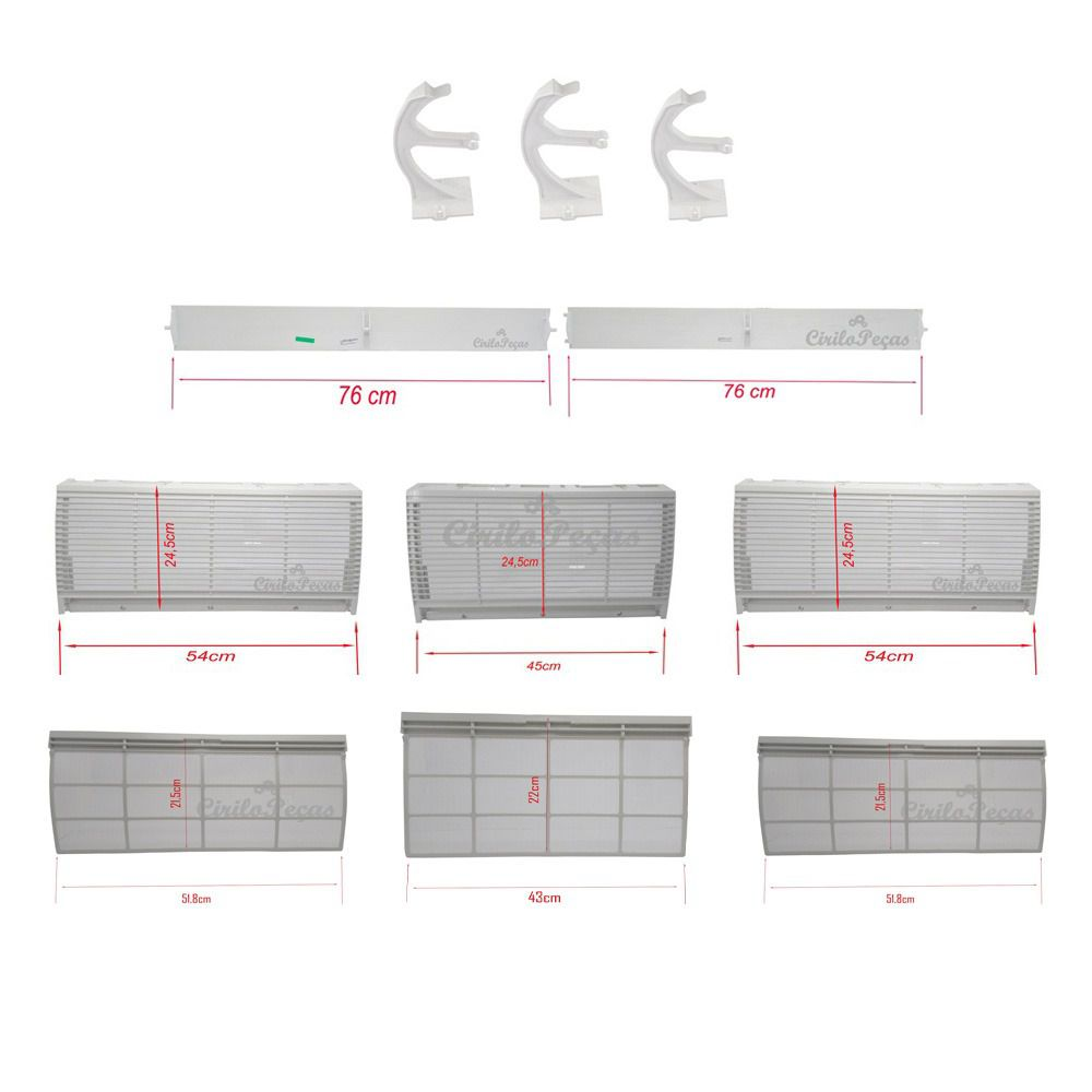 Kit Grelhas e Filtros + Vanes e Suportes Piso Teto Carrier 60.000 Btus