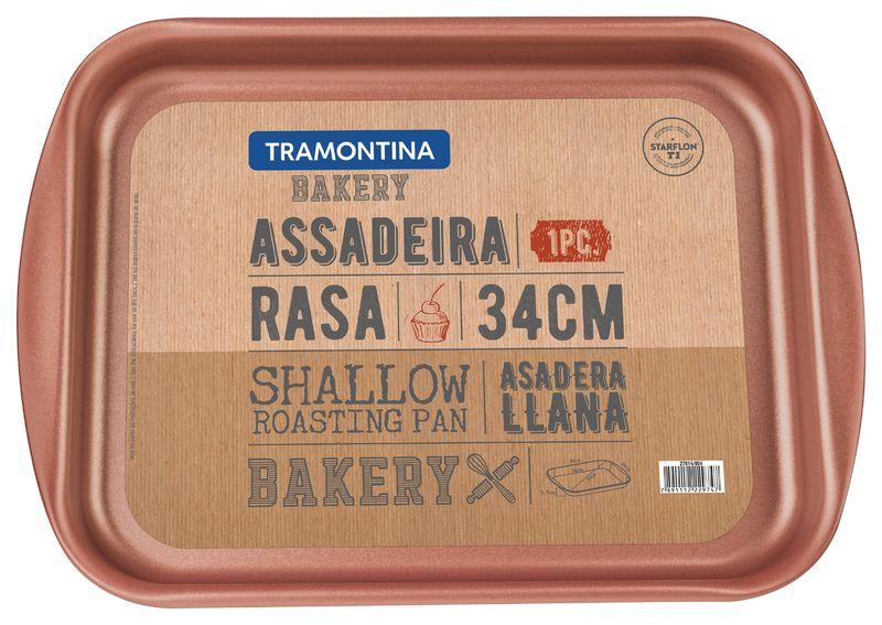 Assadeira Rasa Alumínio 34 Cm Bakery Cinza Tramontina