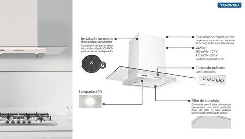 Coifa de Parede Tramontina Basic 90 em Aço Inox 220 V 90 cm