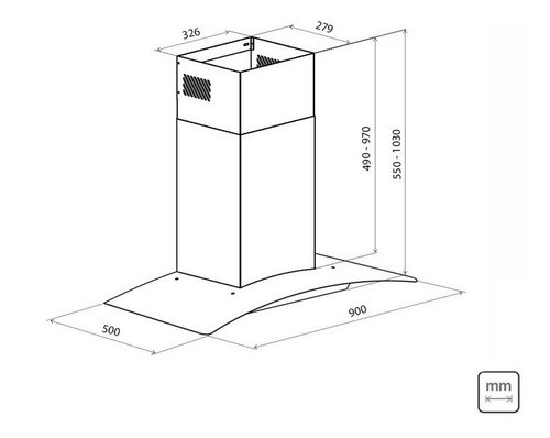 Coifa Parede Tramontina New Vetro Aço Inox Vidro 90 cm 220 V