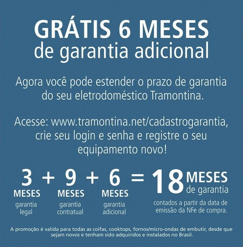 Coifa Tramontina New Vetro Isla Aço Inox e Vidro 90cm 127V