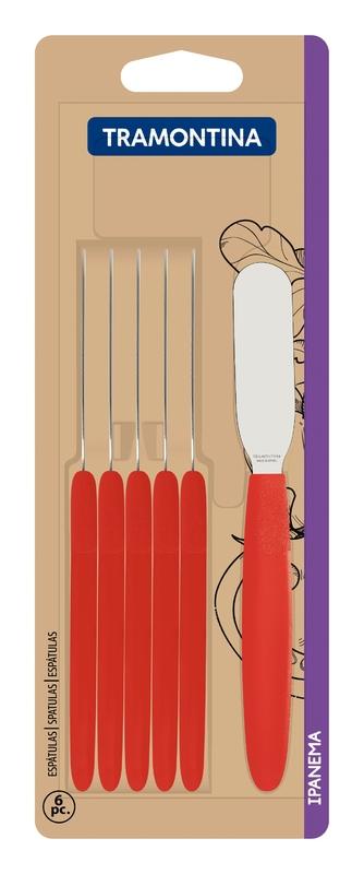 Conj. Espatulas Inox 6 Pçs Ipanema Vermelho Tramontina
