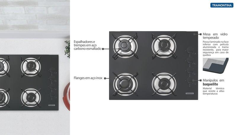 Cooktop a Gás Tramontina Brasil em Vidro com 4 Queimadores