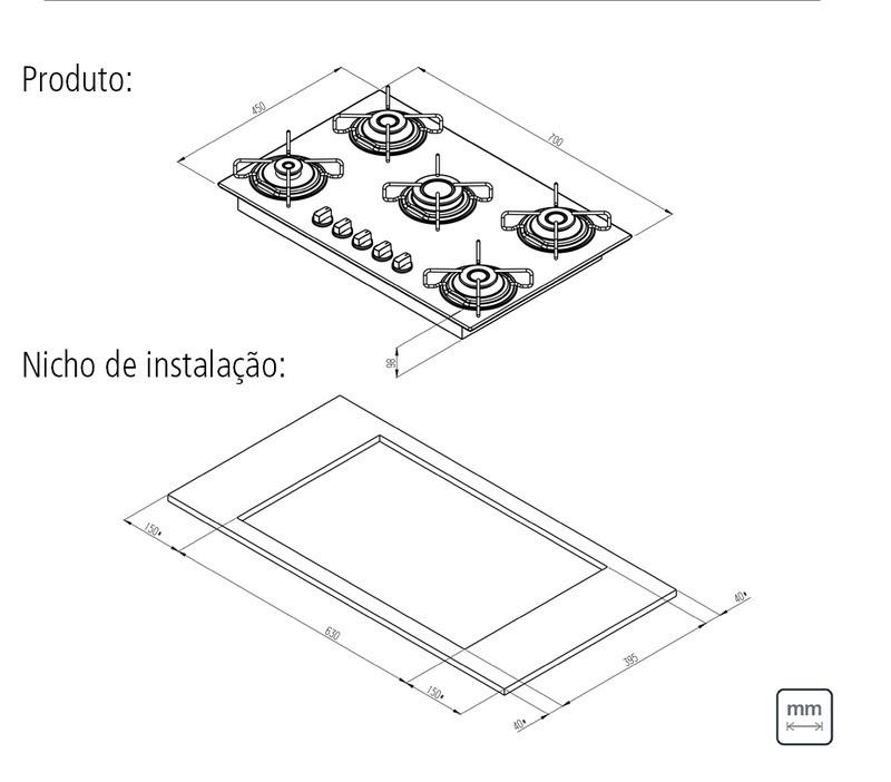 Cooktop a Gás Tramontina Brasil em Vidro com 5 Queimadores