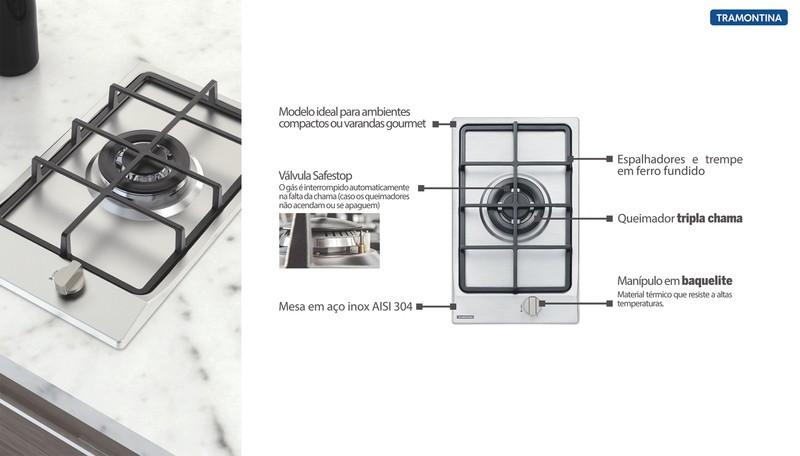 Cooktop a Gás Tramontina Dominó em Aço Inox com 1 Queimador