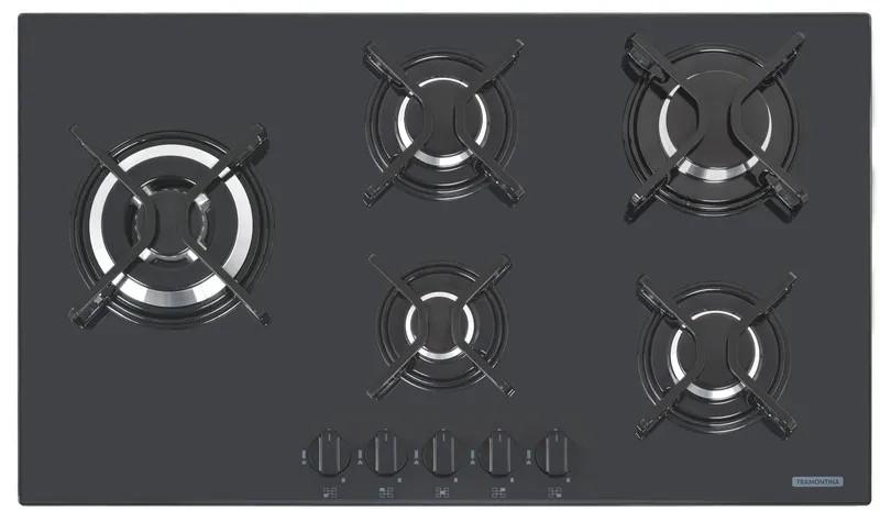 Cooktop a Gás Tramontina Penta Side Plus Preto 5 Queimadores